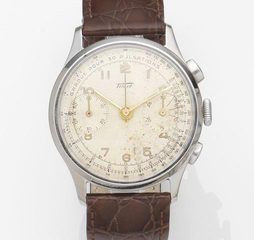 Tissot. A stainless steel manual wind chronograph wristwatchCase No.930117, Movement No.7601, Circa 1950
