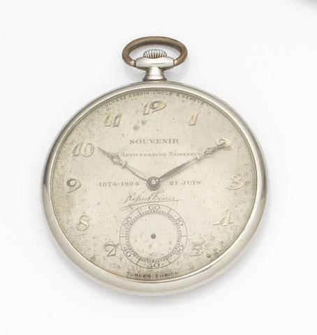 Ulysse Nardin. An 18ct white gold keyless wind open face pocket watchCase No.350962, Movement No.91597, Circa 1923