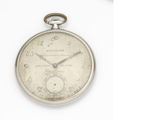 Ulysse Nardin. An 18ct white gold keyless wind open face pocket watch Case No.350962, Movement No.91597, Circa 1923