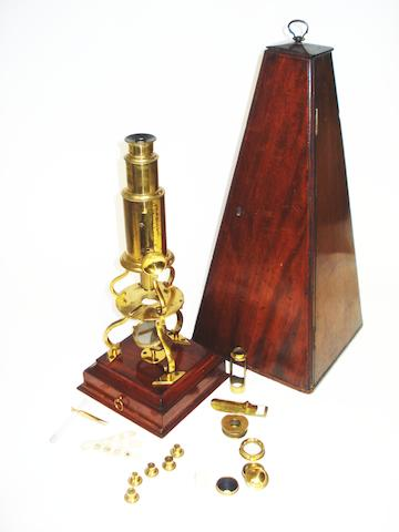 A Dollond brass Culpeper microscope,  English,  early 19th century,