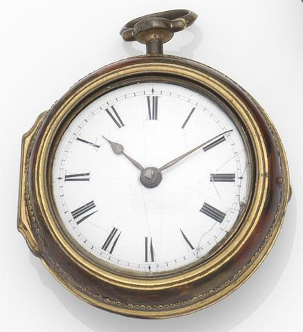 Richard Stimson, Ely. A horn and gilt metal key wind pair case pocket watchCirca 1790