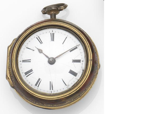 Richard Stimson, Ely. A horn and gilt metal key wind pair case pocket watch Circa 1790