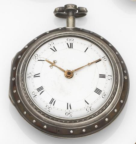 Jqnatz Karrer, Salzburg. A silver and horn key wind pair case pocket watch Movement No.598, Circa 1760
