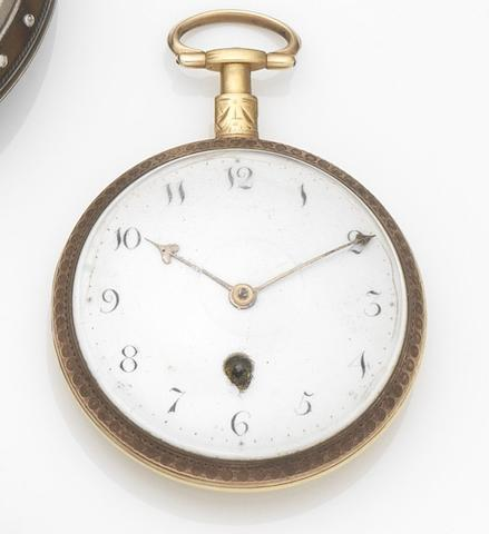 Green & Ward. A gilt metal key wind open face pocket watchMovement No.2584, Circa 1800