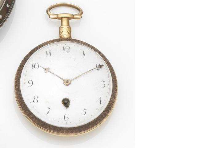 Green & Ward. A gilt metal key wind open face pocket watch Movement No.2584, Circa 1800