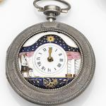 Unsigned. A silver key wind pair case pocket watch with enamel painted dial (AF) Case and Movement No.10356, Circa 1800