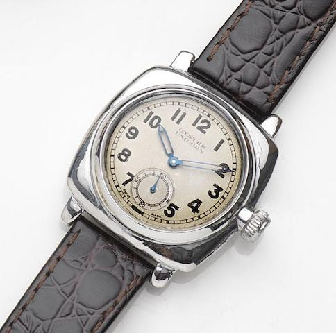 Rolex. A stainless steel manual wind wristwatchOyster Unicorn, Ref:2081, Case No.95018F, Circa 1920