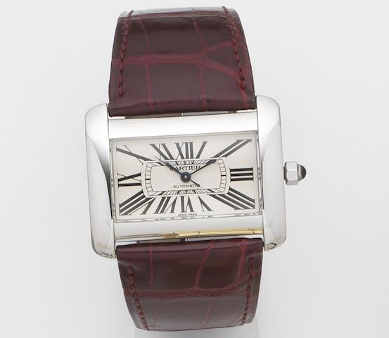 Cartier. A stainless steel automatic centre seconds wristwatchTank Divan, Ref:2612, Case No.157105CE, Recent