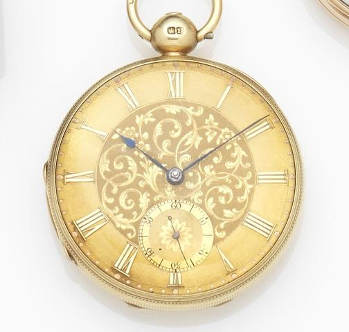 Edward Hawkesworth, Cork. An 18ct gold key wind open face pocket watch Case No.199, Movement No.29199, London Hallmark for 1846