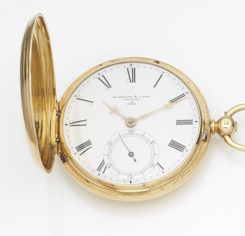 Barraud & Lund, London. An 18ct gold key wind full hunter pocket watchCase No.2/8104, Movement No.3/2608 2/8104, London Hallmark for 1874