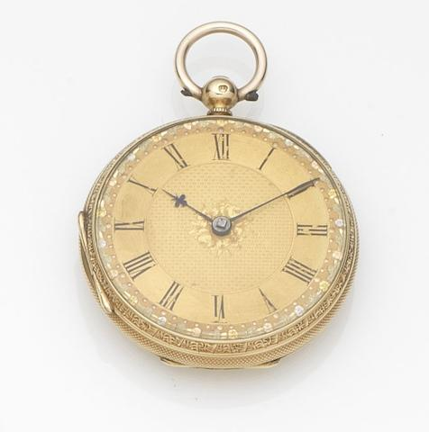 C.S. Burgess, Ipswich. An 18ct gold key wind open face pocket watchMovement No.33947, London Hallmark for 1867