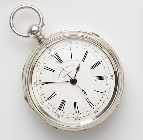 J. Harris & Sons, London & Manchester. A silver key wind open face centre seconds chronograph pocket watchMovement No.181396, Chester hallmark for 1899