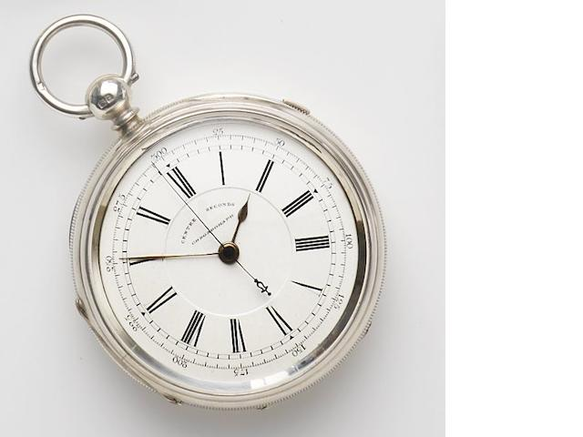 J. Harris & Sons, London & Manchester. A silver key wind open face centre seconds chronograph pocket watch Movement No.181396, Chester hallmark for 1899