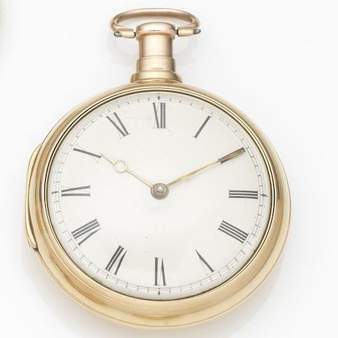 Morris Tobias & Co., London. An 18ct gold key wind pair case pocket watch London Hallmark for 1809