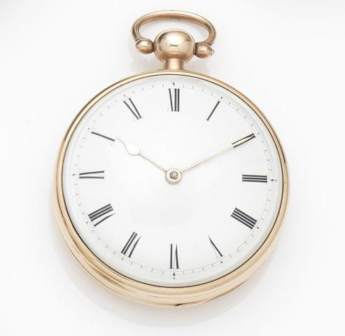Fisher, London. An 18ct gold key wind open face pocket watch Movement No.7095, London Hallmark for 1789