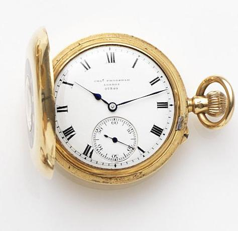 Charles Frodsham, London. An 18ct gold keyless wind half hunter pocket watchCase, Dial and Movement No.07349, London Hallmark for 1886