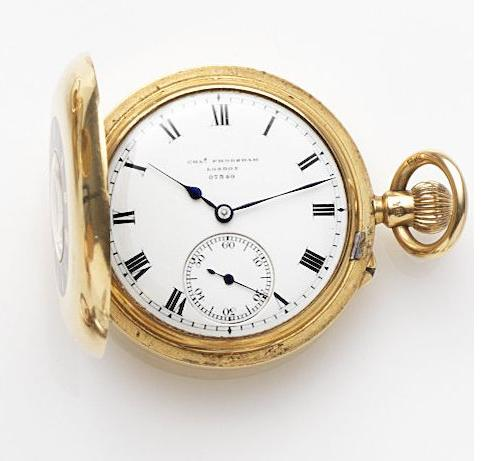 Charles Frodsham, London. An 18ct gold keyless wind half hunter pocket watch Case, Dial and Movement No.07349, London Hallmark for 1886