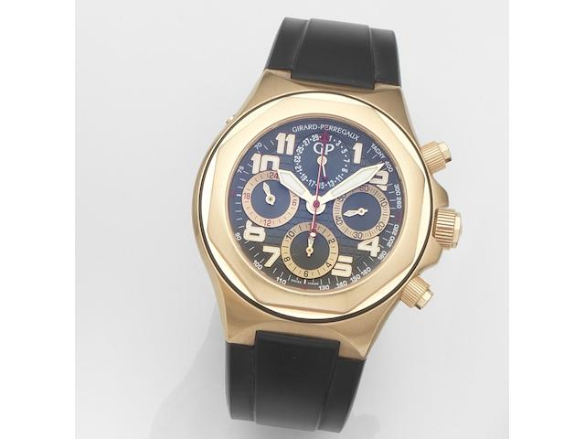 Girard Perregaux. An 18ct rose gold automatic calendar chronograph wristwatch with papersLaureato Evo 3, Ref:80180.52.212.BBEA, Case No.361, Sold 22nd December 2006