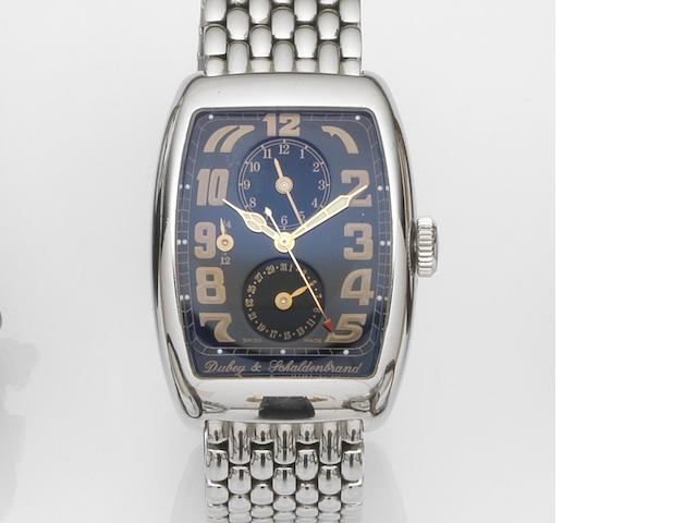 Dubey & Schaldenbrand. A stainless steel automatic dual time zone calendar bracelet watch with box and papers Aerodyn Duo, Case No.2850, Sold 22nd February 2003
