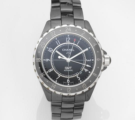 Chanel. A ceramic automatic calendar GMT bracelet watch with box and papers J12 GMT, Ref:H2012, Case No.IG18***, Sold 29th September 2007