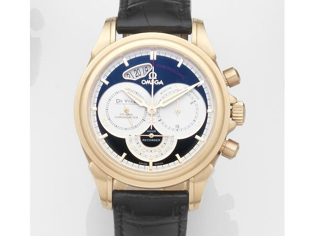 Omega. An 18ct gold automatic calendar chronograph wristwatch with box and papersDe Ville Chronoscope, Ref:46565031, Case and Movement No.783*****, Sold 23rd December 2007