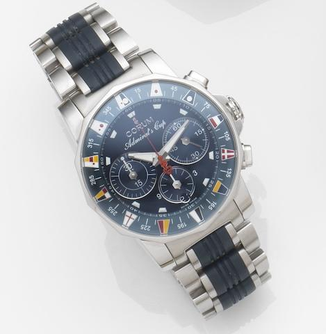 Corum. A stainless steel automatic chronograph calendar bracelet watch with papers Admirals Cup, Ref:985 643.20, Case No.751***, Movement No.671***, Sold 7th March 2007