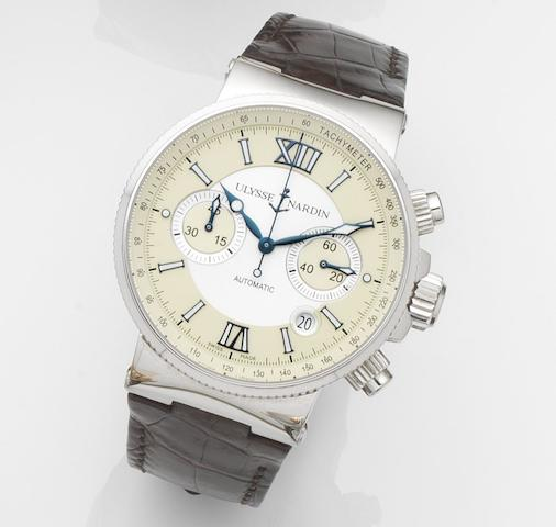 Ulysse Nardin. A stainless steel automatic calendar chronograph wristwatch with box and papers Marine Chronograph, Ref:353-66, Case No.5153, Movement No.UN035-012241, Sold 26th December 2008