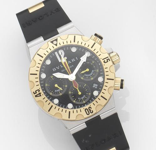 Bulgari. A stainless steel and 18ct gold automatic chronograph calendar wristwatch with papersDiagono Professional Scuba Chrono Fly-Back, Ref:SC 40 SG, Case No.D0051, Circa 2007