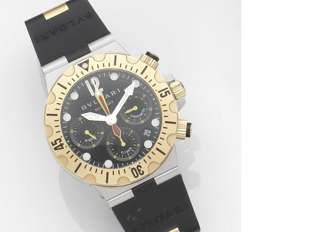 Bulgari. A stainless steel and 18ct gold automatic chronograph calendar wristwatch with papers Diagono Professional Scuba Chrono Fly-Back, Ref:SC 40 SG, Case No.D0051, Circa 2007