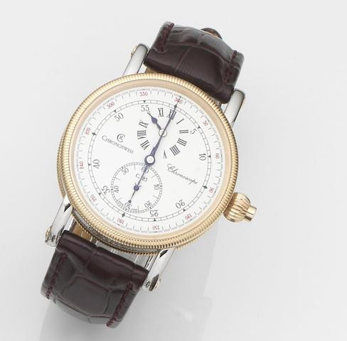 Chronoswiss. A stainless steel and gold automatic regulator chronograph wristwatch with box and papers Chronoscope, Ref:CH 1522 R, Case No.03 059, Sold 31st December 2005