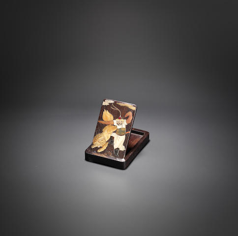 A unique mother-of-pearl, soapstone and hardstone inlaid zitan brush palatte Jiajing, attributed to Zhou Zhu