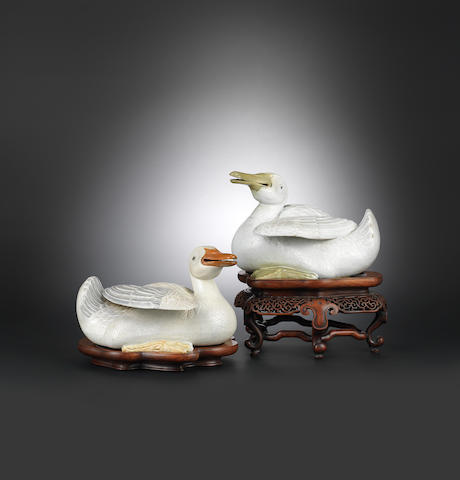 A pair of famille-rose porcelain ducks with hongmu stands Qianlong