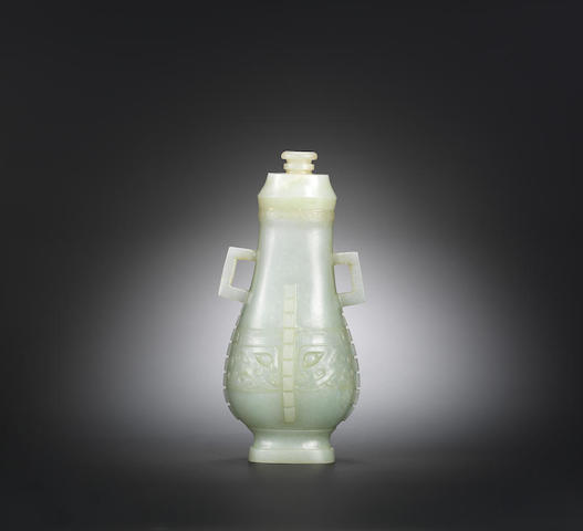 A white jade 'archaistic' hu vase and cover Qing dynasty