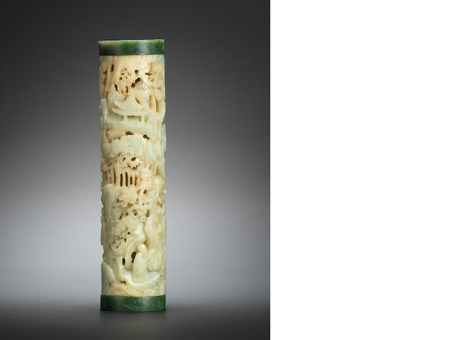 A pale greenish-white jade parfumier with green jade covers Qianlong
