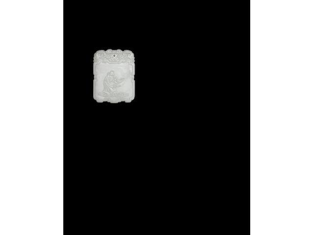 A rare Imperial white jade 'ram' plaque Qianlong