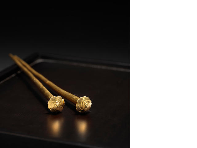 An extremely rare pair of gold hair pins Xuande incised marks and of the period, dated 1427