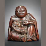 A superb bamboo figure of Vijraputra and Buddhist lion cub Mid Ming dynasty