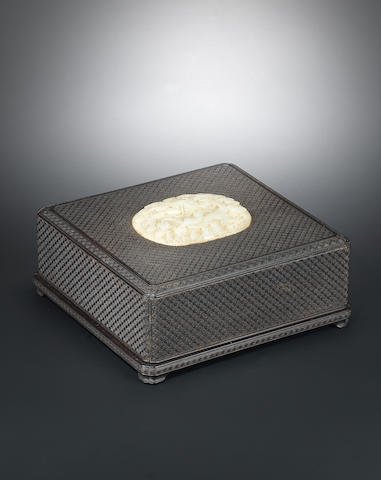 A rare jade-inset zitan 'wan' box and cover Qianlong, the white jade 'dragon' plaque Wanli