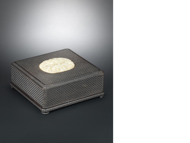 A zitan 'wan' box and cover with white jade 'dragon' plaque Wanli