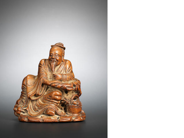 A bamboo figure of Li Shizhen with double gourd Late Ming/early Qing dynasty