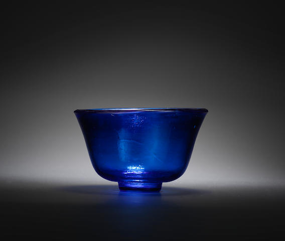 A blue glass bowl Guangxu four-character wheel-cut mark and of the period