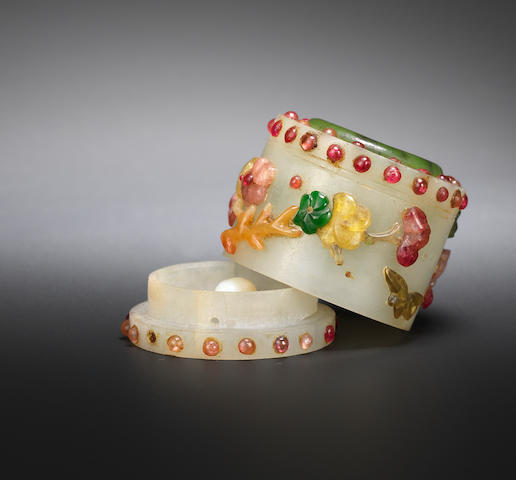 A jade and hardstone inlaid archer's ring box and cover Qing dynasty