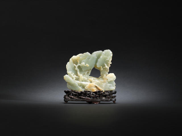 An Imperial pale green jade mountain Qianlong