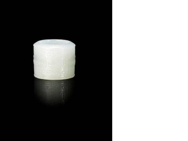 An Imperial white jade 'trigram' archer's ring Qianlong