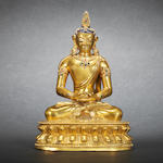 A gilt bronze figure of Amitayus Mid Qing dynasty