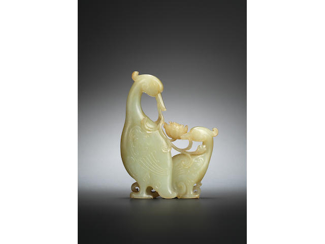A jade 'egret and lotus' carving Qianlong