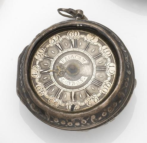 Eriacam, London. A silver key wind repousse pair case pocket watchCase and Movement No.503