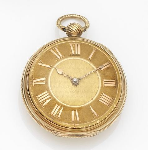 J & T. Silver, London. An 18ct gold key wind open face pocket watch Movement No.9623, London Hallmark for 1817