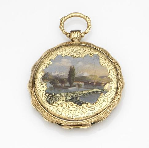D. F. Aubert, Geneve. A continental gold key wind open face pocket watch with painted enamel back Case No.20746, Circa 1830