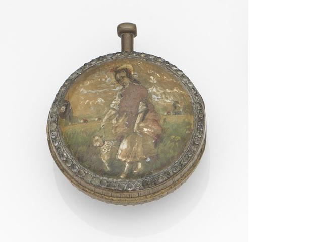 A gilt metal key wind open face pocket watch with enamel back